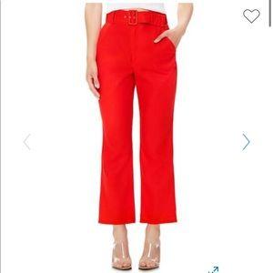 Belted Linen Blend Flare Pants